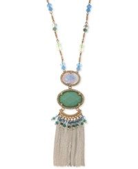 Lonna And Lilly Gold Tone Multi Stone Bead Chain Tassel Pendant Necklace 32 3 Extender Blue Green
