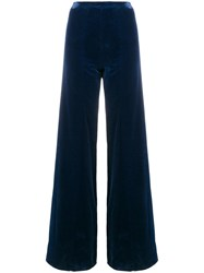 Ungaro Emanuel Vintage High Rise Flared Trousers Blue