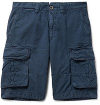 Incotex Washed Cotton And Linen Blend Cargo Shorts Blue