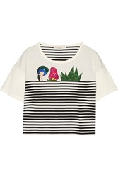 Marc Jacobs Embellished Striped Cotton Jersey T Shirt White