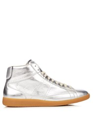 Maison Martin Margiela Ace Mid Top Leather Trainers Silver Multi
