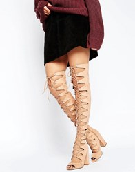 Asos Kassin Lace Up Over The Knee Boots Nude Beige
