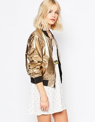 Brave Soul Reversible Metallic Bomber Jacket Reversible Gold