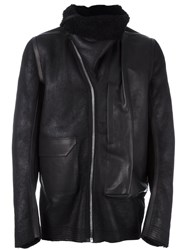 Rick Owens High Collar Leather Jacket Black