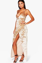 Boohoo Crsuhed Velvet Wrap Maxi Dress Champagne