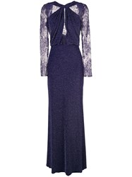 Tadashi Shoji Lurex Knit Evening Dress Purple