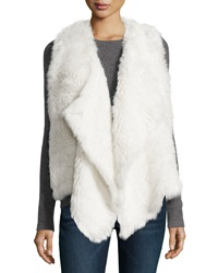Neiman Marcus Draped Rabbit Fur Vest White Cap
