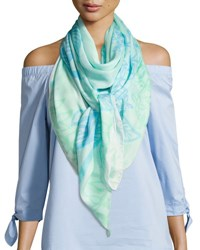 Anna Coroneo Silk Chiffon Square Floral Canopy Scarf Light Blue