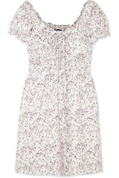 J.Crew Shirred Floral Print Voile Mini Dress Ivory