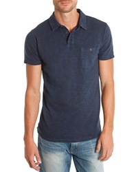 Lucky Brand Malibu Military Polo Shirt Blue