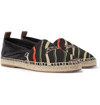 Loewe Paula S Ibiza Leather And Printed Canvas Espadrilles Black