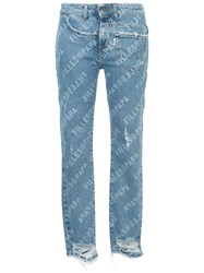 Filles A Papa Distressed Logo Print Skinny Jeans Unavailable