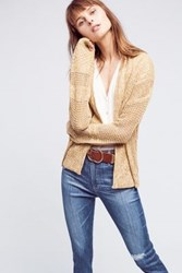 Anthropologie Jolette Cable Knit Cardigan Yellow