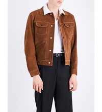 Sandro Cropped Suede Jacket Brown