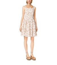 Michael Kors Plonge Collar Floral Guipure Lace Dress Muslin