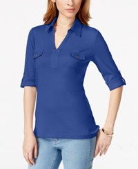 Karen Scott Point Collar Elbow Sleeve Top Only At Macy's Deep Pacific