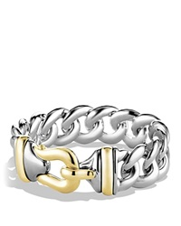 David Yurman Buckle Single Row Bracelet With Gold Silver Gold