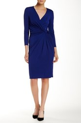 Anne Klein Draped Faux Wrap Dress Blue