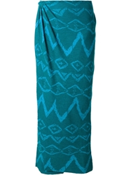 Baja East Patterned Long Wrap Skirt Green