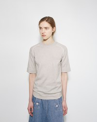 Sacai Cashmere Blend Sweater Tee Grey And Off White