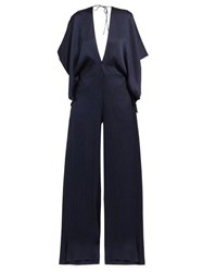 Roland Mouret Auclair Wide Leg Hammered Silk Jumpsuit Navy