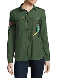 Saks Fifth Avenue Red Hi Lo Button Down Shirt Olive