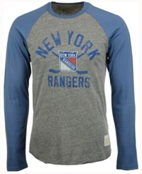 Retro Brand Men's New York Rangers Sticks Raglan Long Sleeve T Shirt Gray Blue