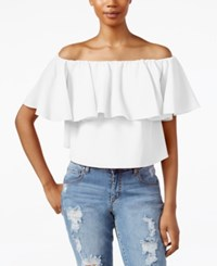 Rachel Rachel Roy Off The Shoulder Flutter Sleeve Crop Top White