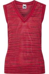 M Missoni Striped Wool Blend Top Bright Pink