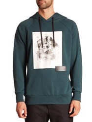 Public School Ervice Floral Print Hooded Sweatshirt Dark Green