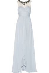 Notte By Marchesa Embellished Tulle Paneled Silk Chiffon Gown