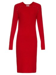 Thierry Mugler Long Sleeved Ribbed Knit Midi Dress Red