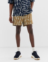 Asos White Co Ord Boxy Shorts In Abstract Print Heavy Crinkle Cotton Brown