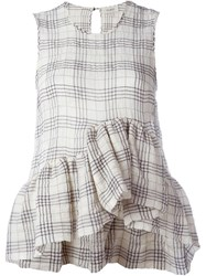 Isa Arfen Plaid Sleeveless Top Nude And Neutrals