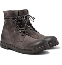 Marsell Washed Suede Boots Dark Gray