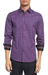 Stone Rose Men's Trim Fit Embroidered Trim Dobby Gingham Sport Shirt
