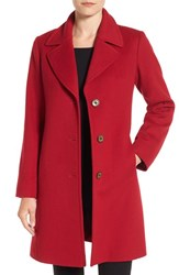 Fleurette Women's Notch Collar Loro Piana Wool Walking Coat Red
