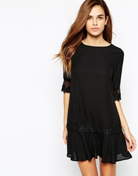 Elise Ryan Drop Waist Shift Dress With Lace Trim Peplum Black
