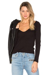 Lacausa Deep Scoop Long Sleeve Tee Black