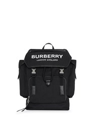 Burberry Medium Logo Detail Cotton Blend Backpack Black