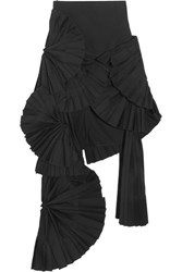 Jacquemus Pleated Canvas Maxi Skirt Black