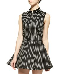 Alice Olivia Lea Striped Fitted Sleeveless Blouse Chalkboard Stripe