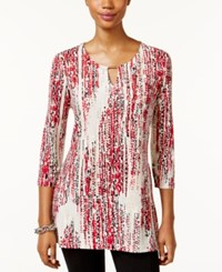 Jm Collection Printed Keyhole Tunic Only At Macy's Linear Lights