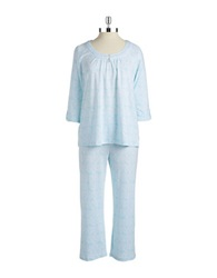 Miss Elaine Patterned Pajama Set Turquoise Print