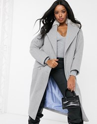 Helene Berman Double Breasted Oversized Coat With Faux Fur Collar Grey