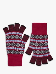 Brora Cashmere Abstract Pattern Fingerless Gloves Chilli