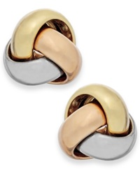 Macy's Tri Tone Love Knot Stud Earrings In 14K Gold Yellow Gold