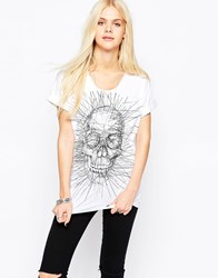 Religion Scratch Skull Print T Shirt White
