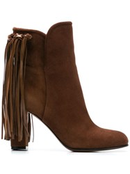 Etro Fringed Booties Brown