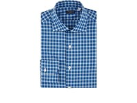 Finamore Checked Cotton Poplin Shirt Navy